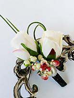 Fleurs de mariage Forme libre Roses Boutonnières Mariage La Fête / soirée Polyester Satin Perle