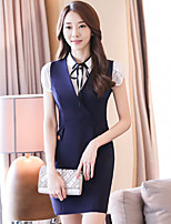 Women's Work Simple Bodycon Dress,Solid Shirt Collar Above Knee Short Sleeve Rayon Summer Low Rise Inelastic Thin
