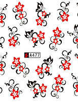 10pcs/set Beautiful Nail Art Sticker Sweet Red Flower Vine Design Fashion Nail Water Transfer Decals Charming Decoration A477