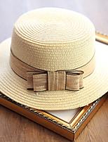 Women's Fashion Straw Hat Sun Hat Bucket Hat/Cap Cute Casual Solid Bowknot Beach Summer Beige/Khaki/Pink