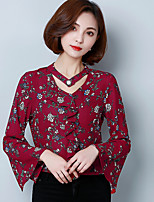 подписать рукавами рубашки шифон женщин корейской версии новой весной 2017 года женщины&# 39; S V-образным вырезом рубашки Flouncing