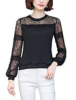 Для женщин На каждый день Большие размеры Все сезоны Блуза Круглый вырез,Простое Однотонный Длинный рукав,Искусственный шёлк Полиэстер,