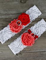2pcs/set Red Satin Lace Chiffon Beading Wedding Garter