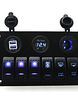 IZTOSS DC 12/24V 6 gang blue rocker switches panel with bilge blower bilge pump stereo switch and 3.1A Dual USB voltmeter led power Socket pre-wired a