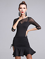 Latin Dance Dresses Women's Performance Milk Fiber Ruffles 1 Pieces Half Sleeve Natural Dress