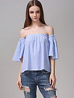 Для женщин На выход На каждый день Весна Лето Рубашка Вырез лодочкой,Секси Простое Жаккард Без рукавов,Хлопок,Плотная