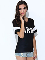 Women's Going out Casual/Daily Vintage Simple Spring Summer T-shirt,Striped Round Neck Short Sleeve Cotton Opaque