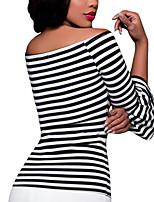 Femme Epaules Dénudées Tee-shirt,Rayé Décontracté/Quotidien Sexy Printemps Automne Manches ¾ Bateau Fausse Fourrure Opaque