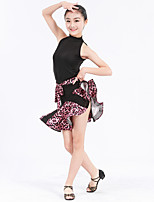 Latin Dance Outfits Women's Kid's Performance Spandex Polyester Flower(s) Lace Pattern/Print Ruffles Leopard 2 Pieces Sleeveless Natural