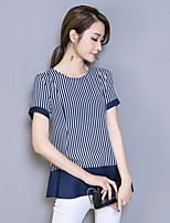 Women's Going out Simple Blouse,Striped Round Neck Short Sleeve Cotton