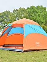 3-4 personnes Double Une pièce Tente de campingRandonnée Camping Voyage-Orange
