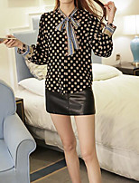 Women's Casual/Daily Simple Shirt,Print V Neck Long Sleeve Polyester Thin