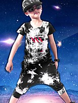 Boy's Cotton Fashion Pure Cotton Tie-dye Camouflage Printed Round Collar Short Sleeve Blouse Hip-hop Harlan His Pants Two-Piece Outfit