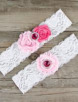 2pcs/set Rose And Pink Satin Lace Chiffon Beading Wedding Garter