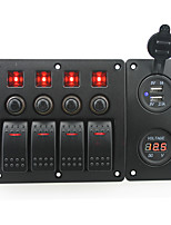 IZTOSS red led DC12/24V 4 Gang on-off rocker switch curved panel and circuit breaker with label stickers and blue led USB and red voltmeter socket for