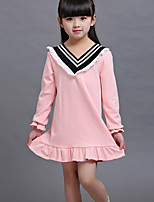 Casual/Daily Solid Dress,Cotton Summer Long Sleeve Regular
