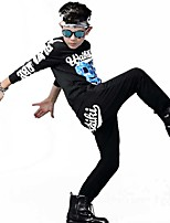 Boy's Girl's Unisex Going out Casual/Daily Sports Print Patchwork 2 Piece Sets Cotton Spring/Fall Long Sleeve Clothing Set Performance Wear