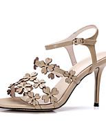 Sandals Spring Summer Fall Slingback Cowhide Office & Career Party & Evening Dress Stiletto Heel Flower Green Almond