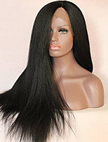 New Yaki African American Synthetic Hair Wigs Straight High Temperature Heat Resistant Black Lace Front Wig On Sale