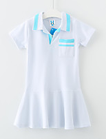 Girl's Casual/Daily Color Block Dress,Cotton Summer Short Sleeve