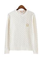 Normal Pullover Femme Décontracté / QuotidienCouleur Pleine Col Arrondi Manches Longues Coton Acrylique Printemps Moyen Elastique