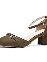 Damen-Sandalen-Büro Kleid Lässig-Vlies-Blockabsatz-Club-Schuhe-Schwarz Grün Rosa