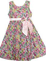 Девичий Платье На выход На каждый день Праздник Хлопок Лён Цветочный принт Лето Весна Без рукавов
