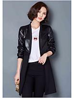 Для женщин На выход На каждый день Весна осень Кожаные куртки V-образный вырез,просто Однотонный Контрастных цветов Длиные Длинный рукав,