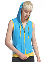 Men's Casual/Daily Sports Simple Active Summer Tank Top,Color Block Hooded Sleeveless Cotton Rayon Thin