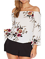 Women's Casual/Daily Simple Shirt,Solid Off Shoulder ¾ Sleeve Polyester