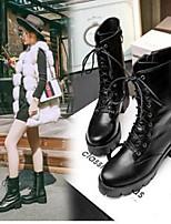 -Для женщин-Повседневный-Полиуретан-На плоской подошве-Удобная обувь-Ботинки