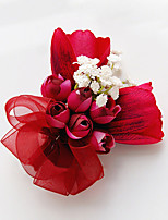 Wedding Flowers Free-form Roses Lilies Boutonnieres Wedding Party/ Evening Red Satin