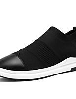 Черный-Для мужчин-Для прогулок Повседневный Для занятий спортом-Тюль Кожа-На плоской подошве-Светодиодные подошвы Удобная обувь-Кеды
