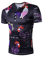 Men's Plus Size Going out Casual/Daily Simple Street chic Active All Seasons T-shirt,Print V Neck Short Sleeve Cotton Medium