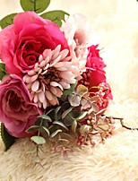 1 Branch Polyester Plastic Roses Tabletop Flower Artificial Flowers 34