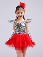 Jazz Dresses Kid's Performance Spandex Tulle Lace Sequins 4 Pieces Sleeveless High Dress Gloves Headpieces