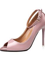 Feminino-Saltos-Conforto-Salto Agulha-Preto Roxo Verde Rosa claro-Couro-Social