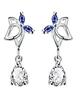 Elegant Silver Plated Blue Sapphire Crystal Waterdrop Connected Oval Earrings for Wedding Party Women Accessiories