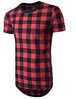 Men's Casual/Daily Sports Simple Active Summer T-shirt,Color Block Check Round Neck Short Sleeve Cotton Rayon Thin