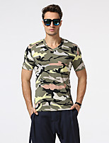 Men's Going out Casual/Daily Holiday Simple Boho Punk & Gothic T-shirt,Camouflage Round Neck Short Sleeve Blue Red Green Purple Cotton