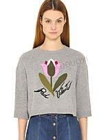 Damen Kurz Pullover-Ausgehen Lässig/Alltäglich Blumen Rundhalsausschnitt ½ Länge Ärmel Baumwolle Frühling Dünn Mikro-elastisch