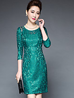 Women's Going out Sexy A Line Dress,Embroidered Round Neck Above Knee ¾ Sleeve Polyester Summer Mid Rise Inelastic Medium