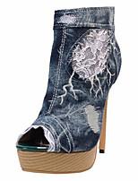 Синий-Для женщин-Свадьба Для прогулок Для праздника Повседневный Для вечеринки / ужина-Ткань-На шпильке-Удобная обувь Оригинальная обувь