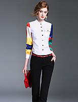 여성 솔리드 컬러 블럭 스탠드 긴 소매 셔츠,심플 귀여운 정교한 디테일 데이트 신사화 작동 면 봄 가을 중간