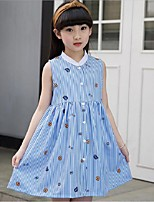 Girl's Beach Sports Striped Dress,Cotton Polyester Summer Sleeveless