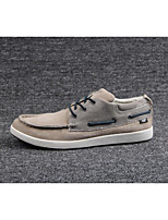 Men's Sneakers Spring Summer Comfort Cowhide Outdoor Casual Flat Heel Gray Khaki