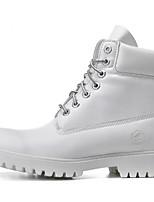 Белый Черный-Для мужчин-Для прогулок Для офиса Повседневный-Кожа-На плоской подошве-Формальная обувь-Ботинки