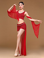 Belly Dance Outfits Women's Training Spandex Modal Draped 2 Pieces Sleeveless Dropped Top with veil Skirt