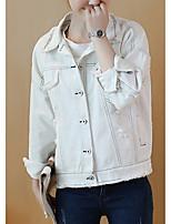 Для женщин На выход На каждый день Офис Весна осень Джинсовая куртка Рубашечный воротник,просто Уличный стиль Изысканный Однотонный