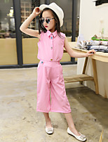 Girls' Going out Casual/Daily Holiday Solid Patchwork Sets Cotton Summer Sleeveless Top Pant 2 Piece Clothing Set